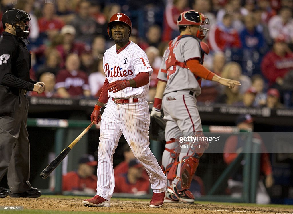 Shortstop <a gi-track='captionPersonalityLinkClicked' href=/galleries/search?phrase=Jimmy+Rollins&family=editorial&specificpeople=204478 ng-click='$event.stopPropagation()'>Jimmy Rollins</a> #11 of the Philadelphia Phillies reacts to a strike out in the fifth inning on May 2, 2014 at Citizens Bank Park in Philadelphia, Pennsylvania.