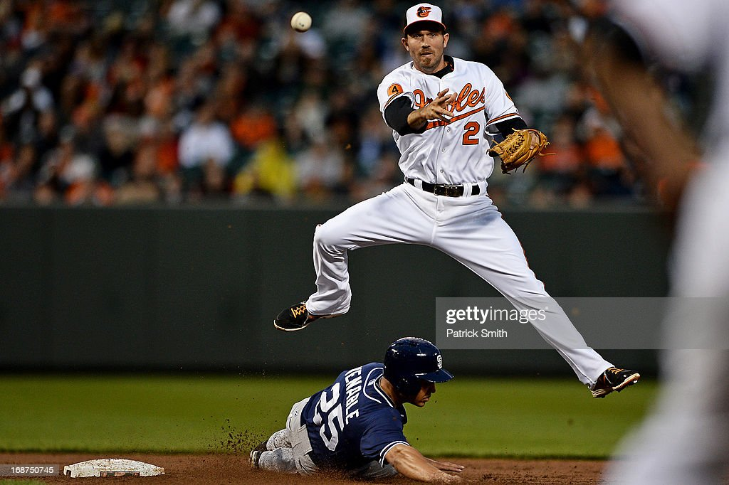 Shortstop <a gi-track='captionPersonalityLinkClicked' href=/galleries/search?phrase=J.J.+Hardy&family=editorial&specificpeople=216446 ng-click='$event.stopPropagation()'>J.J. Hardy</a> #2 of the Baltimore Orioles makes a throw to first base to make a double play as base runner <a gi-track='captionPersonalityLinkClicked' href=/galleries/search?phrase=Will+Venable&family=editorial&specificpeople=3068470 ng-click='$event.stopPropagation()'>Will Venable</a> #25 of the San Diego Padres slides underneath him in the third inning at Oriole Park at Camden Yards on May 14, 2013 in Baltimore, Maryland.
