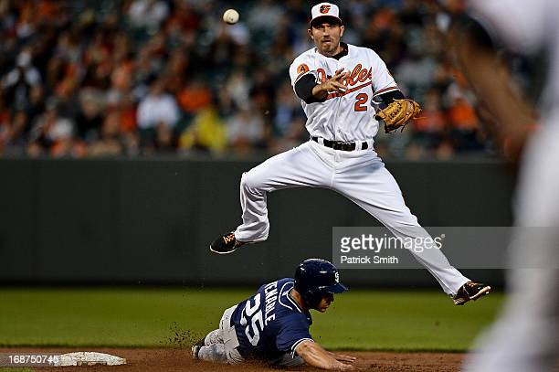 Shortstop JJ Hardy of the Baltimore Orioles makes a throw to first base to make a double play as base runner Will Venable of the San Diego Padres...