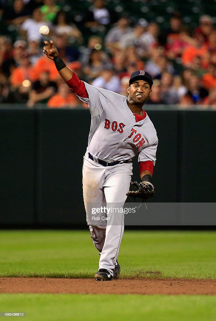 Shortstop Jonathan Herrera #10 of the Boston Red Sox throws to first base against the Baltimore Orioles at Oriole Park at Camden Yards on June 9, 2014 in Baltimore, Maryland.