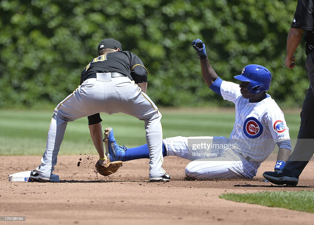 Shortstop Jordy Mercer #10 of the Pittsburgh Pirates tags out <a gi-track='captionPersonalityLinkClicked' href=/galleries/search?phrase=Alfonso+Soriano&family=editorial&specificpeople=202251 ng-click='$event.stopPropagation()'>Alfonso Soriano</a> #12 of the Chicago Cubs at second base on a pick-off play during the second inning at Wrigley Field on June 7, 2013 in Chicago, Illinois. The Pirates defeated the Cubs 2-0.