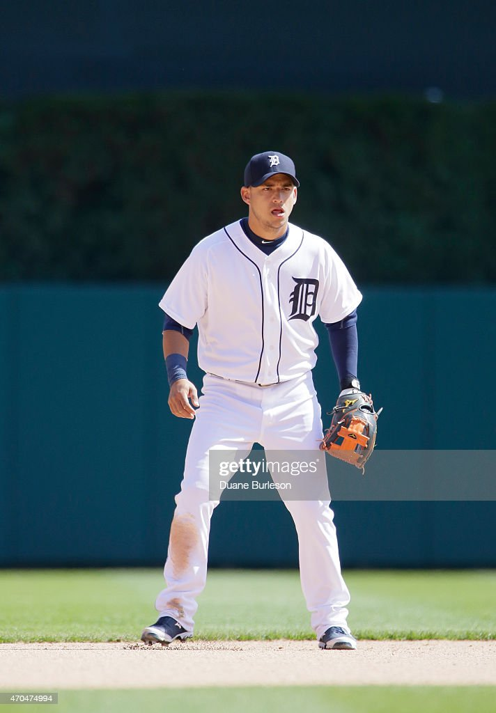 Shortstop Jose Iglesias #1 of the Detroit Tigers is ready to field against the Chicago White Sox at Comerica Park on April 18, 2015 in Detroit, Michigan.