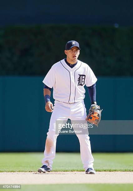 Shortstop Jose Iglesias of the Detroit Tigers is ready to field against the Chicago White Sox at Comerica Park on April 18 2015 in Detroit Michigan