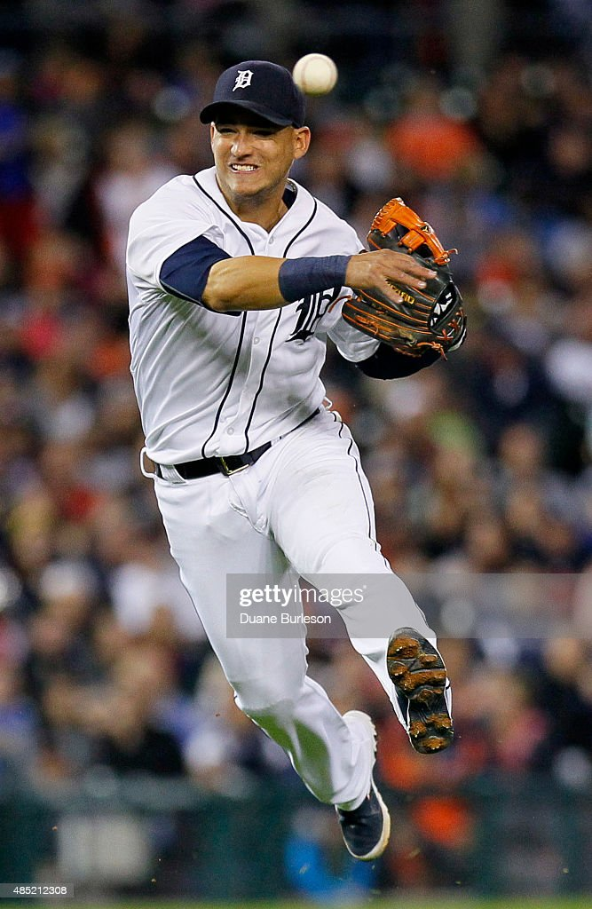 Shortstop Jose Iglesias #1 of the Detroit Tigers throws out Albert Pujols of the Los Angeles Angels of Anaheim at first base on a grounder during the fourth inning at Comerica Park on August 25, 2015 in Detroit, Michigan.