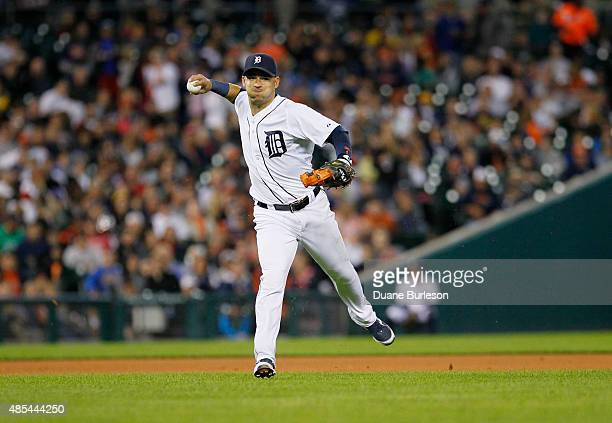 Shortstop Jose Iglesias of the Detroit Tigers throws out Albert Pujols of the Los Angeles Angels of Anaheim at first base on a ground ball during the...