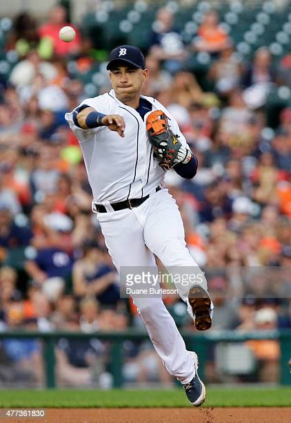 Shortstop Jose Iglesias of the Detroit Tigers throws out Brayan Pena of the Cincinnati Reds at first base on a grounder during the fifth inning at...