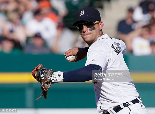 Shortstop Jose Iglesias of the Detroit Tigers throws out Mike Napoli the Cleveland Indians at first base on a grounder during the eighth inning at...