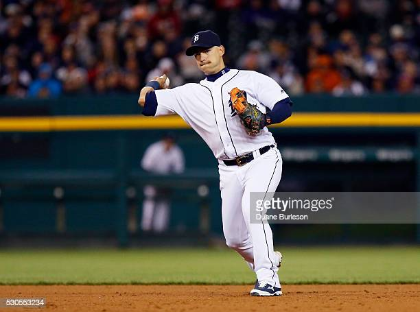 Shortstop Jose Iglesias of the Detroit Tigers throws to first base on a grounder against the Cleveland Indians at Comerica Park on April 22 2016 in...