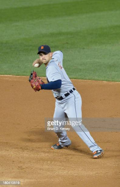 Shortstop Jose Iglesias of the Detroit Tigers throws to first base during the second inning against the Chicago White Sox at US Cellular Field on...