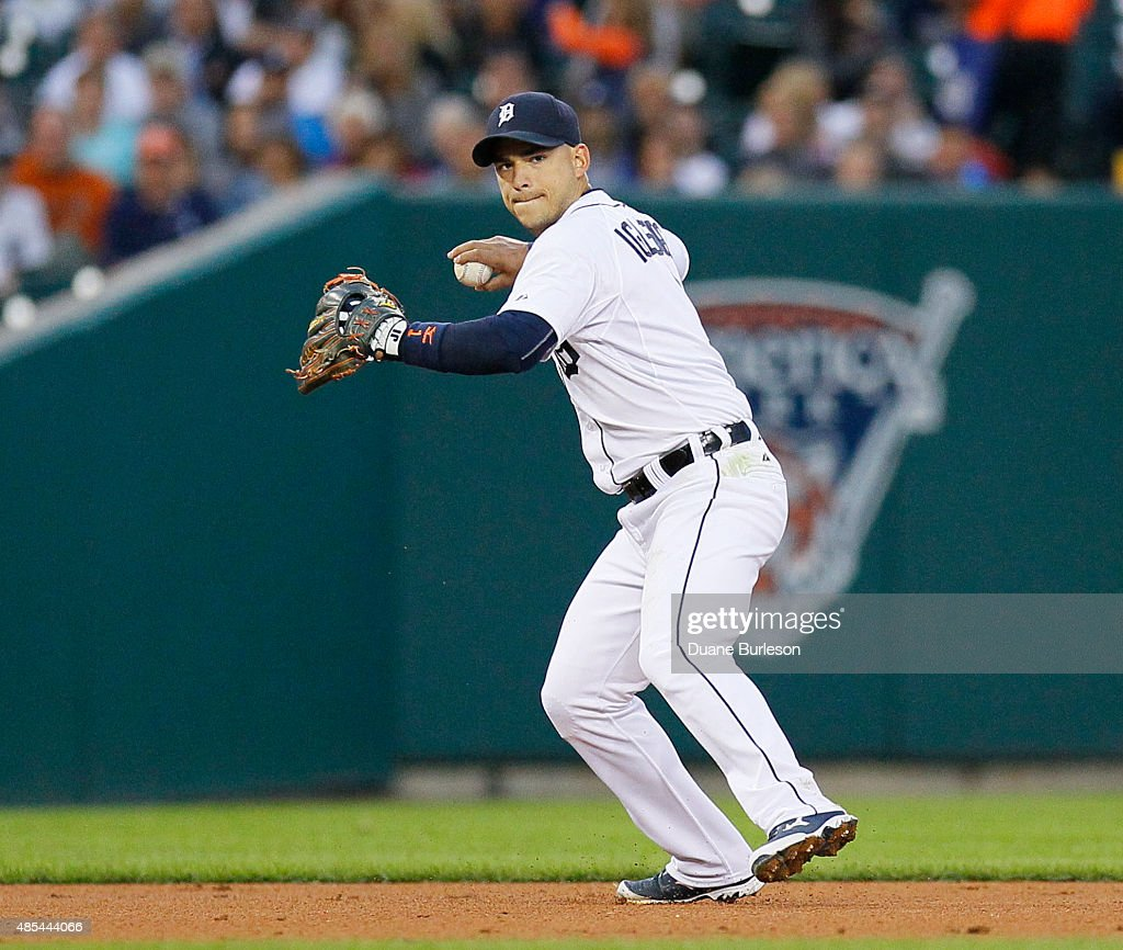 Shortstop Jose Iglesias #1 of the Detroit Tigers throws to first base after fielding a ground ball against the Los Angeles Angels of Anaheim at Comerica Park on August 25, 2015 in Detroit, Michigan.