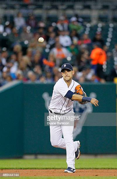 Shortstop Jose Iglesias of the Detroit Tigers throws to first base after fielding a ground ball against the Los Angeles Angels of Anaheim at Comerica...