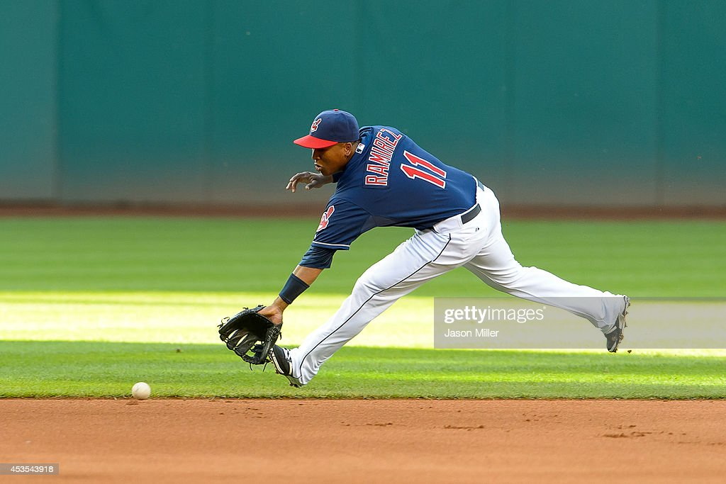 Shortstop Jose Ramirez #11 of the Cleveland Indians fields a ground ball off the bat of Mark Trumbo of the Arizona Diamondbacks at Progressive Field on August 12, 2014 in Cleveland, Ohio.