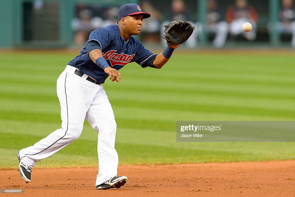 Shortstop Jose Ramirez #11 of the Cleveland Indians fields a ground ball hit by Brian Dozier #2 of the Minnesota Twins during the first inning at Progressive Field on September 9, 2014 in Cleveland, Ohio.