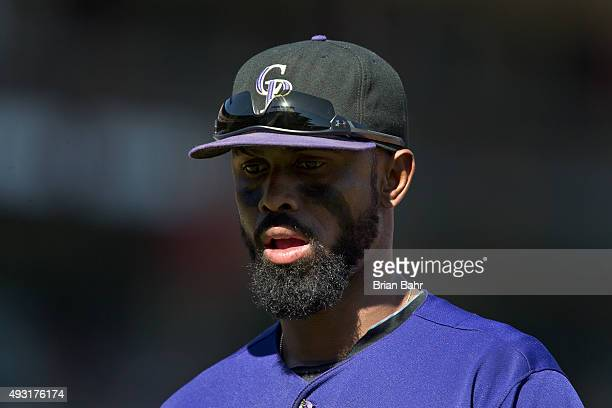 Shortstop Jose Reyes of the Colorado Rockies heads to the dugout trailing 03 after the seventh inning against the San Francisco Giants at ATT Park on...
