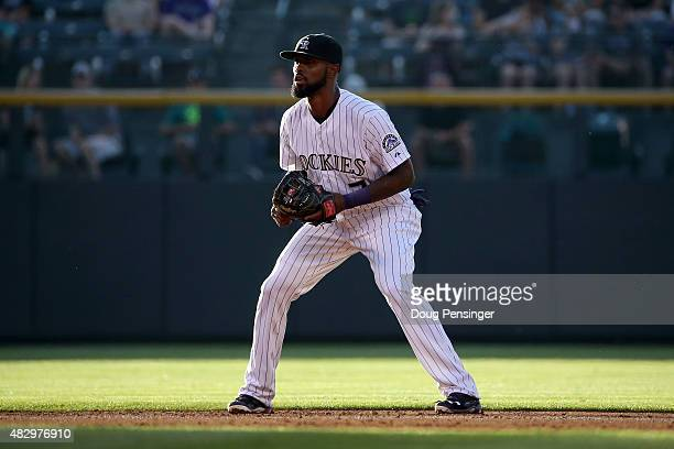 Shortstop Jose Reyes of the Colorado Rockies plays defense against the Seattle Mariners during interleague play at Coors Field on August 4 2015 in...