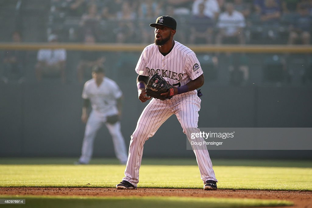 Shortstop <a gi-track='captionPersonalityLinkClicked' href=/galleries/search?phrase=Jose+Reyes+-+Baseball+Player&family=editorial&specificpeople=203307 ng-click='$event.stopPropagation()'>Jose Reyes</a> #7 of the Colorado Rockies plays defense against the Seattle Mariners during interleague play at Coors Field on August 4, 2015 in Denver, Colorado. The Mariners defeated the Rockies 10-4.