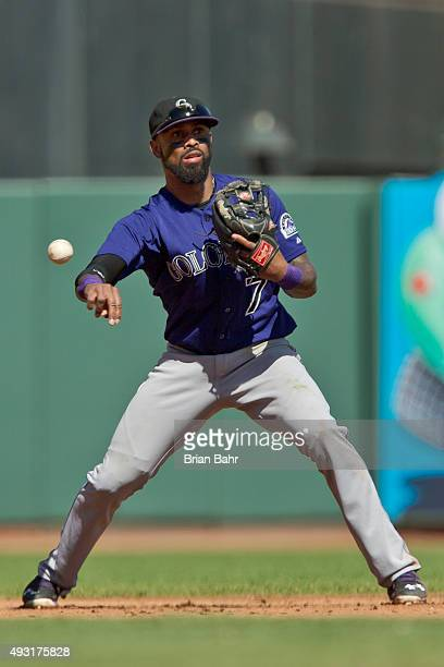 Shortstop Jose Reyes of the Colorado Rockies throws for a fielder's choice to end the fifth inning against the San Francisco Giants at ATT Park on...