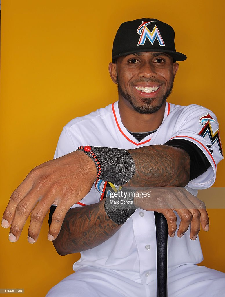 Shortstop Jose Reyes #7 of the Miami Marlins poses for photos during media day at Roger Dean Stadium on February 27, 2012 in Jupiter, Florida.