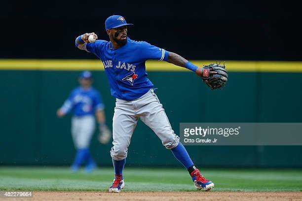 Shortstop Jose Reyes of the Toronto Blue Jays throws to first base against the Seattle Mariners at Safeco Field on July 25 2015 in Seattle Washington