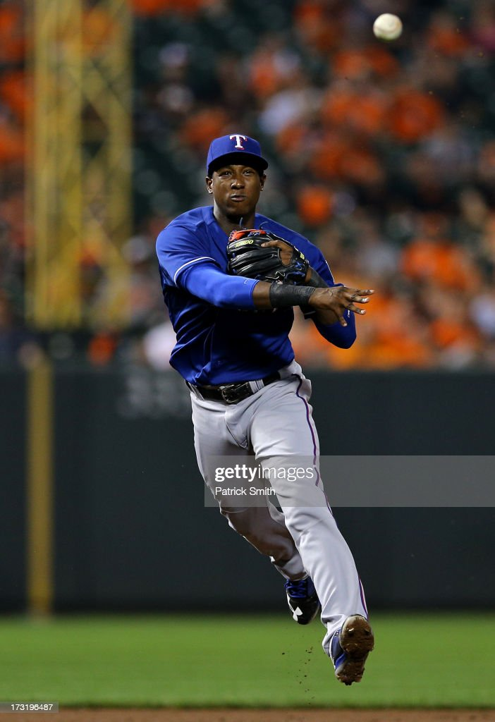 Shortstop <a gi-track='captionPersonalityLinkClicked' href=/galleries/search?phrase=Jurickson+Profar&family=editorial&specificpeople=2253684 ng-click='$event.stopPropagation()'>Jurickson Profar</a> #13 of the Texas Rangers makes an out on Brian Roberts #1 of the Baltimore Orioles (not pictured) in the sixth inning at Oriole Park at Camden Yards on July 9, 2013 in Baltimore, Maryland. The Texas Rangers won, 8-4.