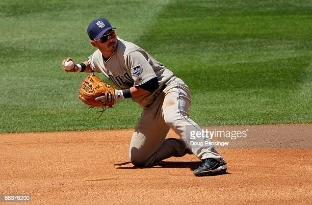 Shortstop Luis Rodriguez of the San Diego Padres plays defense against the Colorado Rockies during MLB action at Coors Field on April 29 2009 in...