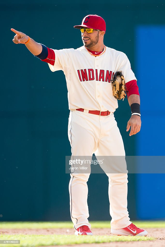 Shortstop <a gi-track='captionPersonalityLinkClicked' href=/galleries/search?phrase=Mike+Aviles&family=editorial&specificpeople=4944765 ng-click='$event.stopPropagation()'>Mike Aviles</a> #4 of the Cleveland Indians celebrates after tagging out <a gi-track='captionPersonalityLinkClicked' href=/galleries/search?phrase=Chris+Davis+-+Baseball+Player&family=editorial&specificpeople=7129264 ng-click='$event.stopPropagation()'>Chris Davis</a> #19 of the Baltimore Orioles at second to end the game at Progressive Field on June 6, 2015 in Cleveland, Ohio. The Indians defeated the Orioles 2-1.