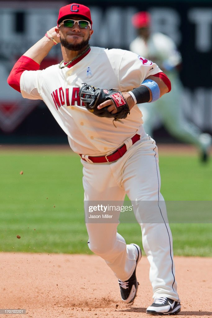 Shortstop <a gi-track='captionPersonalityLinkClicked' href=/galleries/search?phrase=Mike+Aviles&family=editorial&specificpeople=4944765 ng-click='$event.stopPropagation()'>Mike Aviles</a> #4 of the Cleveland Indians throws to first for a double play to end the top of the sixth inning against the Washington Nationals at Progressive Field on June 16, 2013 in Cleveland, Ohio.