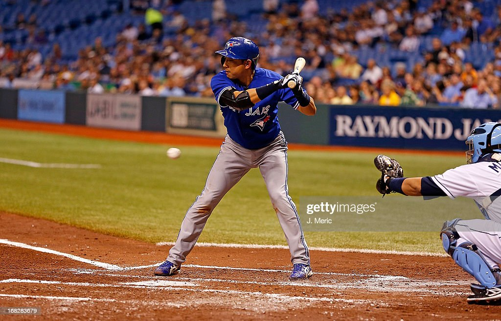 Shortstop <a gi-track='captionPersonalityLinkClicked' href=/galleries/search?phrase=Munenori+Kawasaki&family=editorial&specificpeople=690355 ng-click='$event.stopPropagation()'>Munenori Kawasaki</a> #66 of the Toronto Blue Jays bats against the Tampa Bay Rays during the game at Tropicana Field on May 7, 2013 in St. Petersburg, Florida.