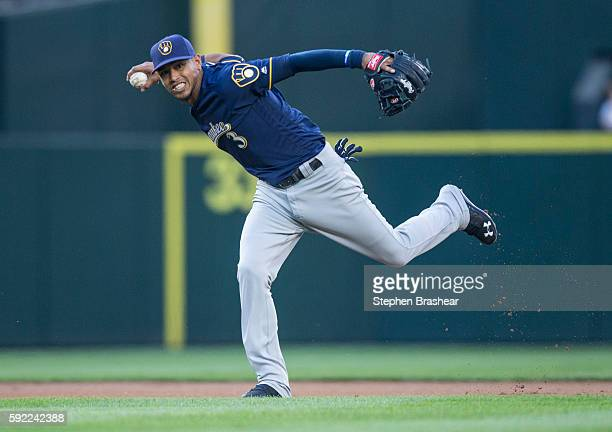 Shortstop Orlando Arcia of the Milwaukee Brewers throws out Shawn O'Malley of the Seattle Mariners at first base during the first inning of a game at...