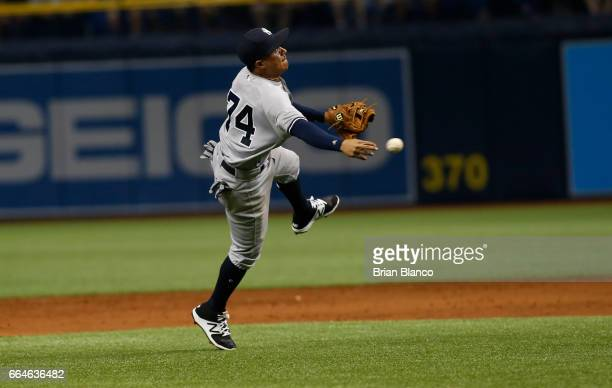 Shortstop Ronald Torreyes of the New York Yankees makes the on a ground out off the bat of Steven Souza Jr of the Tampa Bay Rays to end the third...