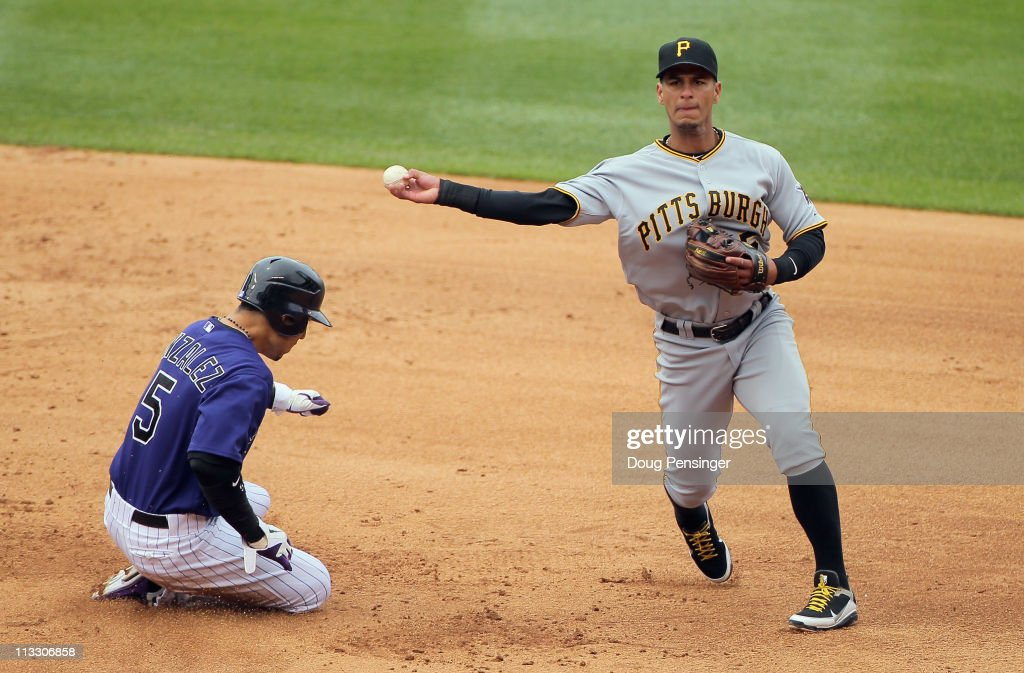 Shortstop Ronny Cedeno of the Pittsburgh Pirates turns a double play on Carlos Gonzalez of the Colorado Rockies on a grounder hit by Seth Smith of...