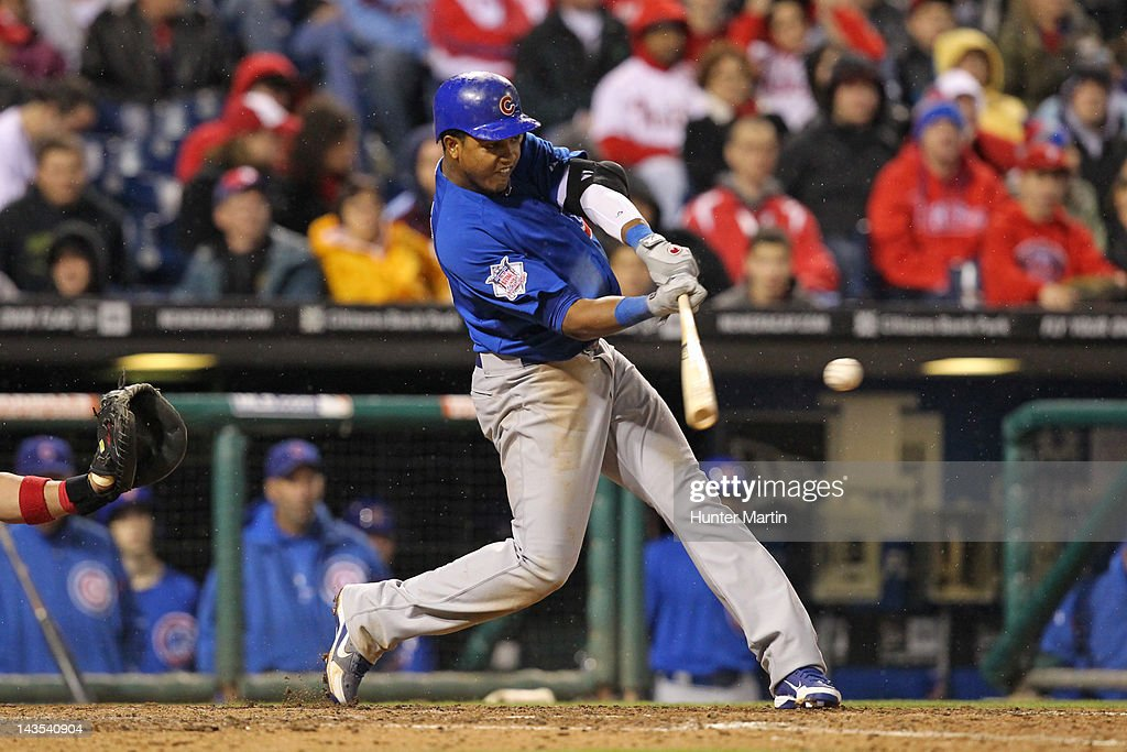 Shortstop <a gi-track='captionPersonalityLinkClicked' href=/galleries/search?phrase=Starlin+Castro&family=editorial&specificpeople=5970945 ng-click='$event.stopPropagation()'>Starlin Castro</a> #13 of the Chicago Cubs bats during a game against the Philadelphia Phillies at Citizens Bank Park on April 28, 2012 in Philadelphia, Pennsylvania. The Phillies won 5-2.