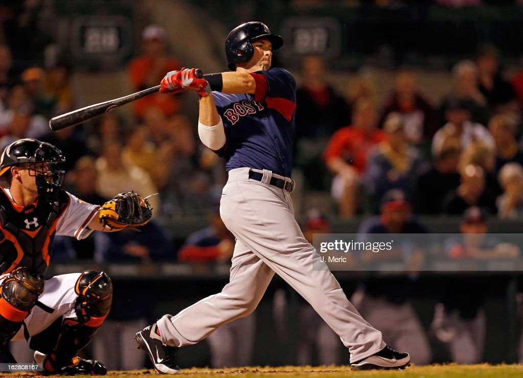 Shortstop <a gi-track='captionPersonalityLinkClicked' href=/galleries/search?phrase=Stephen+Drew&family=editorial&specificpeople=757520 ng-click='$event.stopPropagation()'>Stephen Drew</a> #7 of the Boston Red Sox bats against the Baltimore Orioles during a Grapefruit League Spring Training Game at Ed Smith Stadium on February 27, 2013 in Sarasota, Florida.