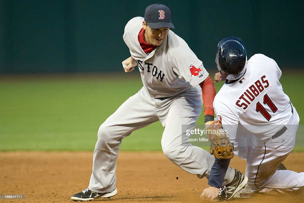 Shortstop <a gi-track='captionPersonalityLinkClicked' href=/galleries/search?phrase=Stephen+Drew&family=editorial&specificpeople=757520 ng-click='$event.stopPropagation()'>Stephen Drew</a> #7 of the Boston Red Sox is late raging <a gi-track='captionPersonalityLinkClicked' href=/galleries/search?phrase=Drew+Stubbs+-+Baseball+Player&family=editorial&specificpeople=4498334 ng-click='$event.stopPropagation()'>Drew Stubbs</a> #11 of the Cleveland Indians who stole second during the third inning at Progressive Field on April 17, 2013 in Cleveland, Ohio.