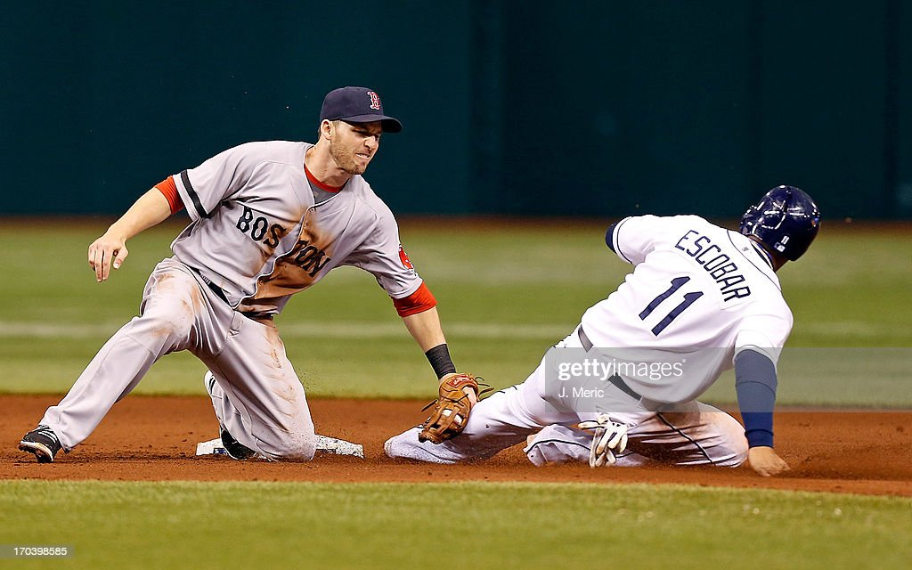 Shortstop <a gi-track='captionPersonalityLinkClicked' href=/galleries/search?phrase=Stephen+Drew&family=editorial&specificpeople=757520 ng-click='$event.stopPropagation()'>Stephen Drew</a> #7 of the Boston Red Sox tags out <a gi-track='captionPersonalityLinkClicked' href=/galleries/search?phrase=Yunel+Escobar&family=editorial&specificpeople=757358 ng-click='$event.stopPropagation()'>Yunel Escobar</a> #11 of the Tampa Bay Rays as he attempted to steal second base during the game at Tropicana Field on June 12, 2013 in St. Petersburg, Florida.
