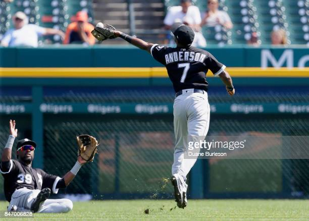 Shortstop Tim Anderson of the Chicago White Sox catches a fly ball hit by Jeimer Candelario of the Detroit Tigers as left fielder Alen Hanson of the...