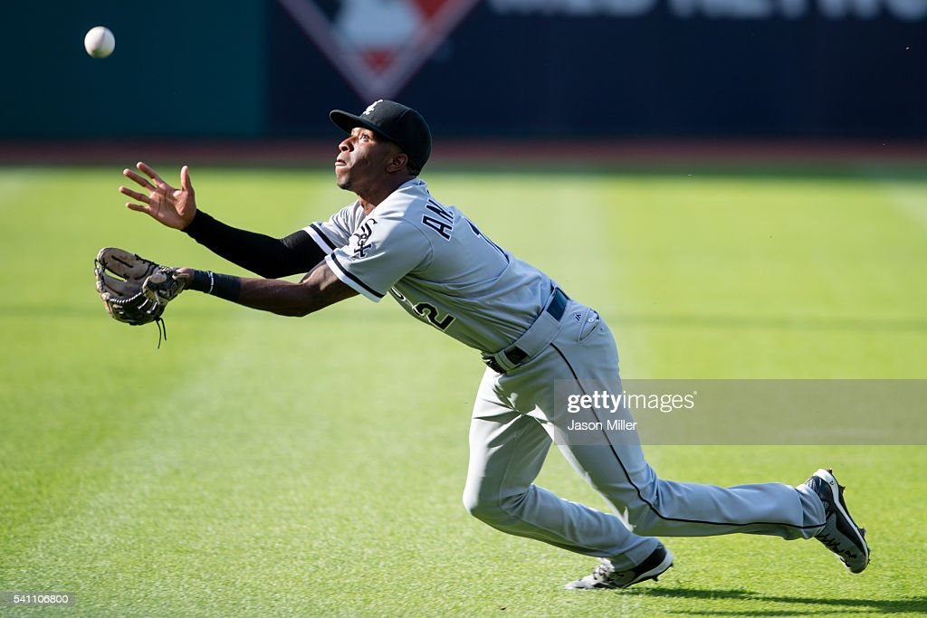 Shortstop Tim Anderson of the Chicago White Sox catches then drops a fly ball hit by Jose Ramirez of the Cleveland Indians during the first inning at...