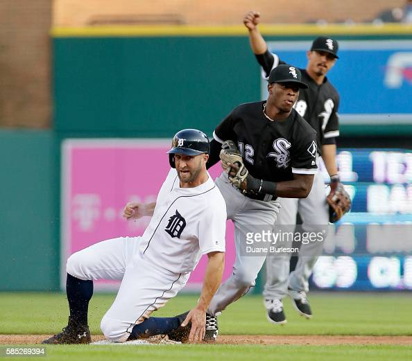 Shortstop Tim Anderson of the Chicago White Sox heads for the dugout after tagging out Tyler Collins of the Detroit Tigers trying to steal second...