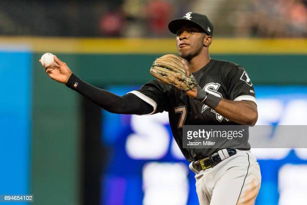 Shortstop Tim Anderson of the Chicago White Sox throws out Lonnie Chisenhall of the Cleveland Indians at first to end the seventh inning at...