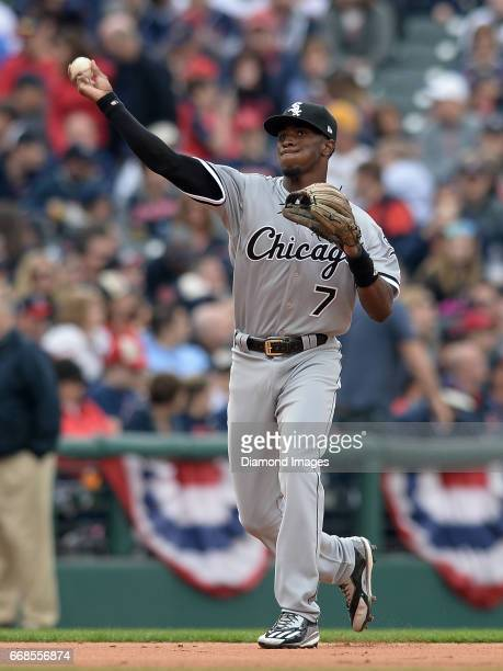 Shortstop Tim Anderson of the Chicago White Sox throws the ball toward first base during a game on April 11 2017 against the Cleveland Indians at...