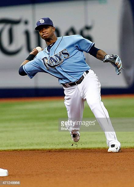 Shortstop Tim Beckham of the Tampa Bay Rays fields the ground out by Josh Donaldson of the Toronto Blue Jays during the fourth inning of a game on...