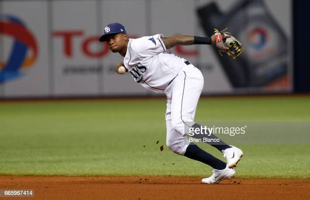 Shortstop Tim Beckham of the Tampa Bay Rays fields the ground out by Justin Smoak of the Toronto Blue Jays during the fourth inning of a game on...