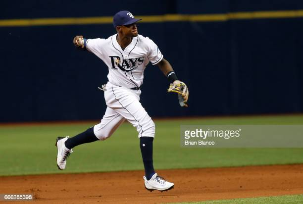 Shortstop Tim Beckham of the Tampa Bay Rays fields the ground out by Kevin Pillar of the Toronto Blue Jays during the game on April 8 2017 at...