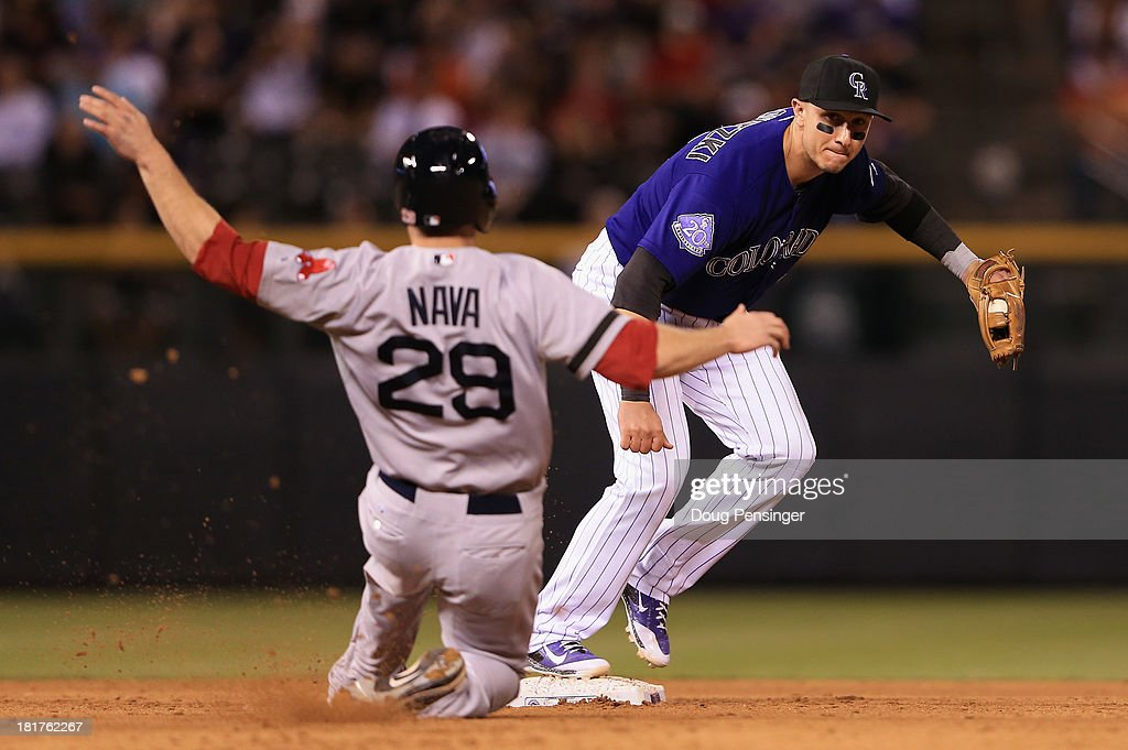 Shortstop <a gi-track='captionPersonalityLinkClicked' href=/galleries/search?phrase=Troy+Tulowitzki&family=editorial&specificpeople=757353 ng-click='$event.stopPropagation()'>Troy Tulowitzki</a> #2 of the Colorado Rockies gets a force out on <a gi-track='captionPersonalityLinkClicked' href=/galleries/search?phrase=Daniel+Nava&family=editorial&specificpeople=670454 ng-click='$event.stopPropagation()'>Daniel Nava</a> #29 of the Boston Red Sox to end the eighth inning at Coors Field on September 24, 2013 in Denver, Colorado.