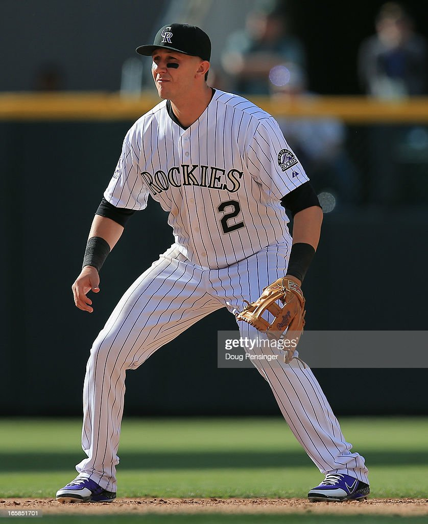 Shortstop Troy Tulowitzki #2 of the Colorado Rockies plays defense against the San Diego Padres during Opening Day at Coors Field on April 5, 2013 in Denver, Colorado. The Rockies defeated the Padres 5-2.