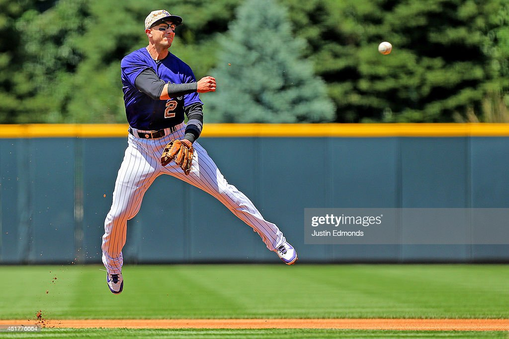 Shortstop <a gi-track='captionPersonalityLinkClicked' href=/galleries/search?phrase=Troy+Tulowitzki&family=editorial&specificpeople=757353 ng-click='$event.stopPropagation()'>Troy Tulowitzki</a> #2 of the Colorado Rockies throws to first base for the first out during the first inning against the Los Angeles Dodgers at Coors Field on July 6, 2014 in Denver, Colorado.
