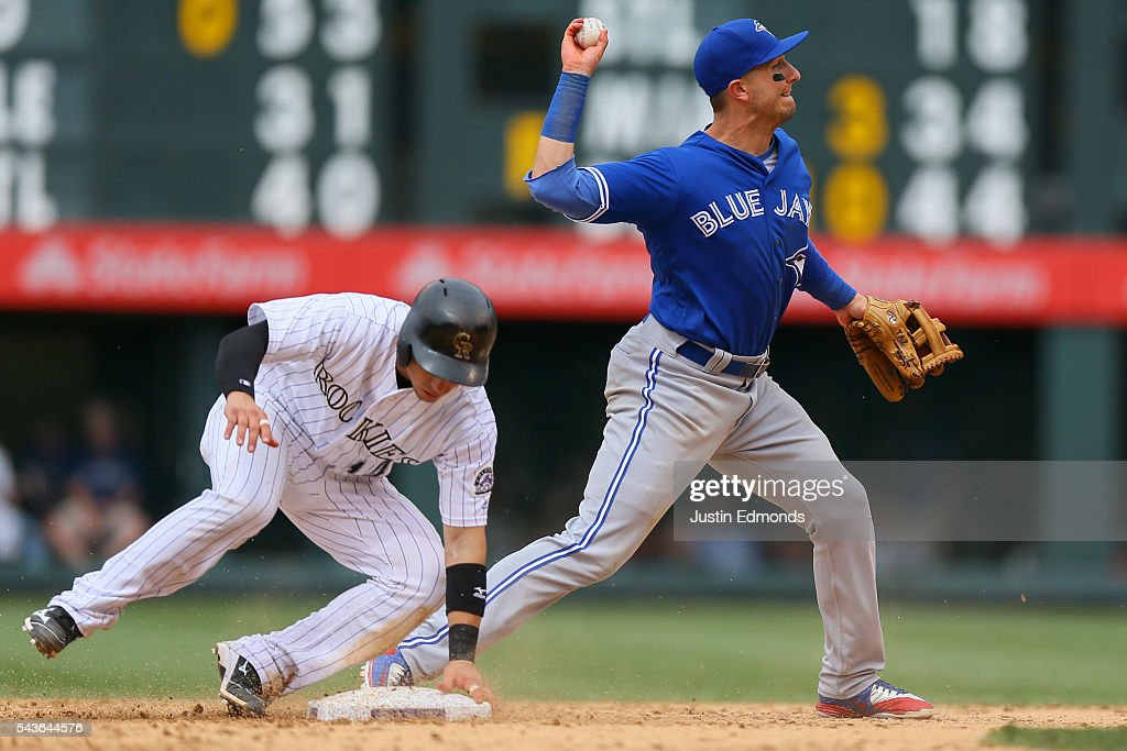 Shortstop <a gi-track='captionPersonalityLinkClicked' href=/galleries/search?phrase=Troy+Tulowitzki&family=editorial&specificpeople=757353 ng-click='$event.stopPropagation()'>Troy Tulowitzki</a> #2 of the Toronto Blue Jays throws to first base to complete the double play to end the seventh inning as Tony Wolters #14 of the Colorado Rockies slides in at Coors Field on June 29, 2016 in Denver, Colorado. The Blue Jays defeated the Rockies 5-3.