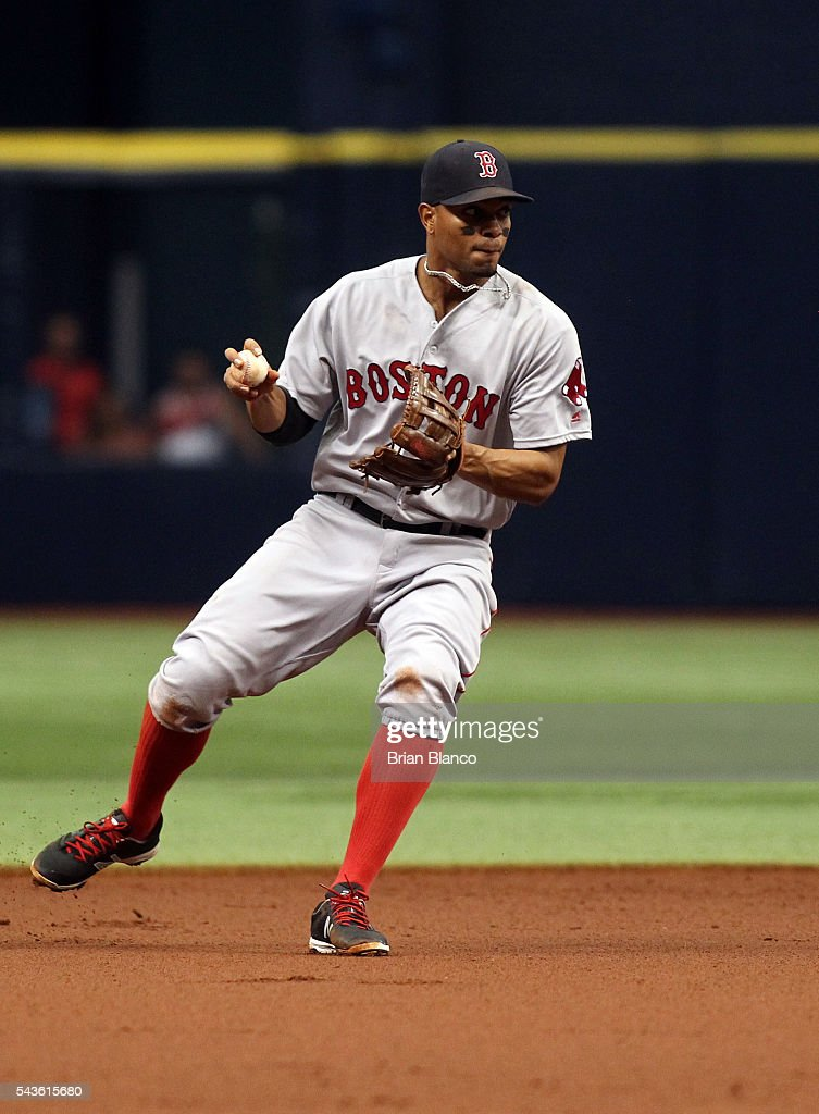 Shortstop <a gi-track='captionPersonalityLinkClicked' href=/galleries/search?phrase=Xander+Bogaerts&family=editorial&specificpeople=9461957 ng-click='$event.stopPropagation()'>Xander Bogaerts</a> #2 of the Boston Red Sox fields the ground out by Desmond Jennings of the Tampa Bay Rays to end the first inning of a game on June 29, 2016 at Tropicana Field in St. Petersburg, Florida.