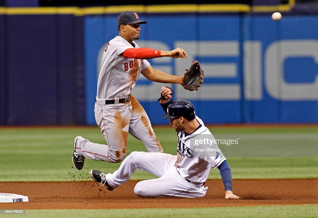 Shortstop <a gi-track='captionPersonalityLinkClicked' href=/galleries/search?phrase=Xander+Bogaerts&family=editorial&specificpeople=9461957 ng-click='$event.stopPropagation()'>Xander Bogaerts</a> #2 of the Boston Red Sox gets the out at second base on <a gi-track='captionPersonalityLinkClicked' href=/galleries/search?phrase=Kevin+Kiermaier&family=editorial&specificpeople=12507596 ng-click='$event.stopPropagation()'>Kevin Kiermaier</a> #39 of the Tampa Bay Rays off of the fielder's choice by Ben Zobrist during the fifth inning of a game on September 1, 2014 at Tropicana Field in St. Petersburg, Florida.