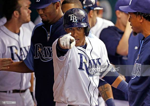 Shortstop Yunel Escobar of the Tampa Bay Rays celebrates his first inning home run against the New York Yankees at Tropicana Field on April 22 2013...
